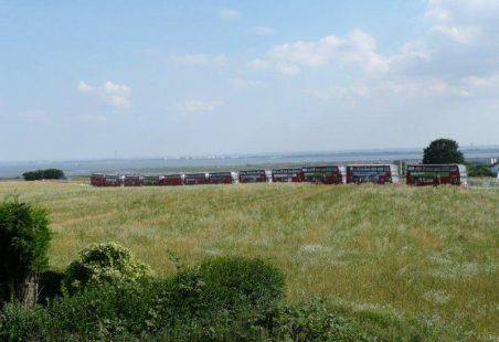 Red Buses on Hadleigh Downs