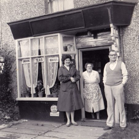 Edie, Maria and Dick outside their cafe