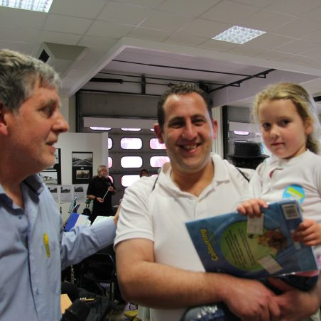 Lily-Mae Clifford, the under 5 winner of our Mermaid colouring competition with her dad and Nick Turner (left) | Graham Cook