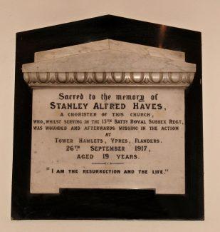 Memorial to a Hadleigh Chorister   M Brown