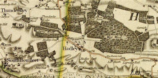 Chapman & Andre Map 1777 shows milestone but Meadow Road does not exist yet