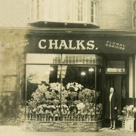 Rose Chalk at her flower shop - Bouquets, Floral Design - at 4 Central Parade, Hadleigh, now 247 London Road. Telephone number was HAD 58037. | Gill and Colin Blackall