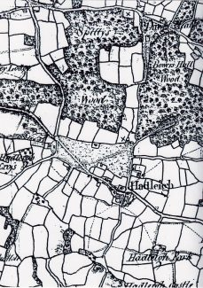 Map from 1795 showing the 21 acres of Gt. Nashes farm (top x). Also indicated is location of Stockwoods (now Sayers) Farm (lower left x). | Sandra Harvey (from Strangman Family article)