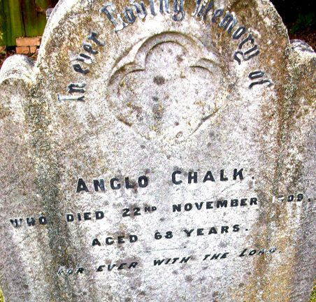 Headstone for Anglo (Angelo) Chalk (b.1842, d.1909) | Gill and Colin Blackall