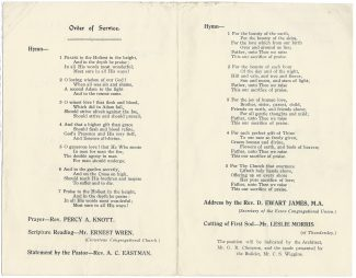 Order of Service, inside covers | by courtesy of Mrs. Gwyneth Craze, neé Wiggins