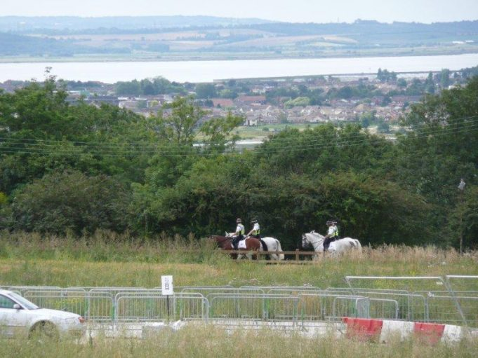 Nay, I don't believe it!  Mounted Police, with Canvey Island in the background and across the estuary Kent | Annie Blackery