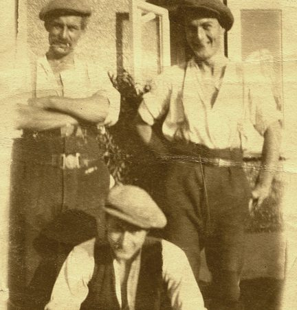 Herbert Angelo Chalk (left) and his sons Herbert John (called Jim) and Ben (foreground) at 'Woodlands', New Road, Hadleigh. | Gill and Colin Blackall