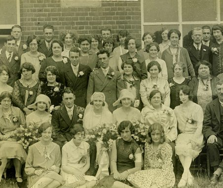 Wedding of Ben Chalk and Rose Johnson, 12 June, 1929. Back row 2nd and 3rd from left Herbert John (Jim) and Eileen Chalk. Henry George (Harry) Chalk 3rd row from back in dark suit behind groom. Herbert Angelo and wife Alice Jane seated, 2nd row, left - parents of the groom. Seated right, 2nd row, George Johnson, father of the bride and farmer of 'Hovels Farm', Fobbing. Mother of the bride Emma Johnson, 3rd from right, 2nd row. | Gill and Colin Blackall
