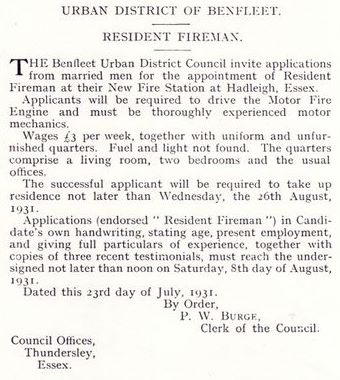 Advertisement for resident fireman July 1931 | Essex Fire Museum, Grays