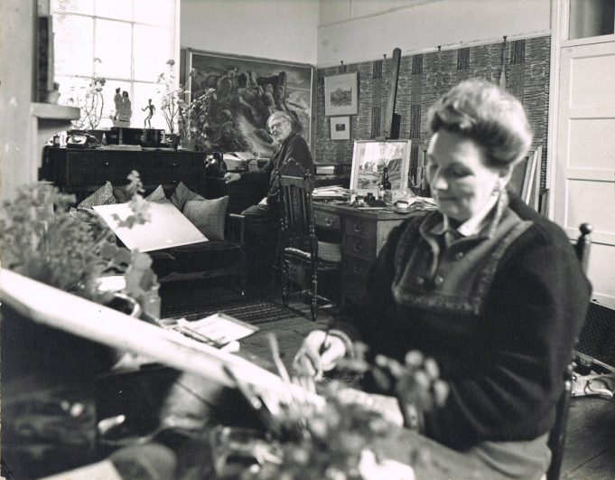 Alan and Elizabeth Sorrell, Artists, in the old chapel in Daws Heath Road | © Julia Sorrell