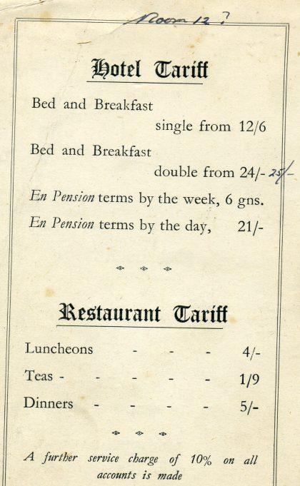 Blyth Hotel tariff | Ian