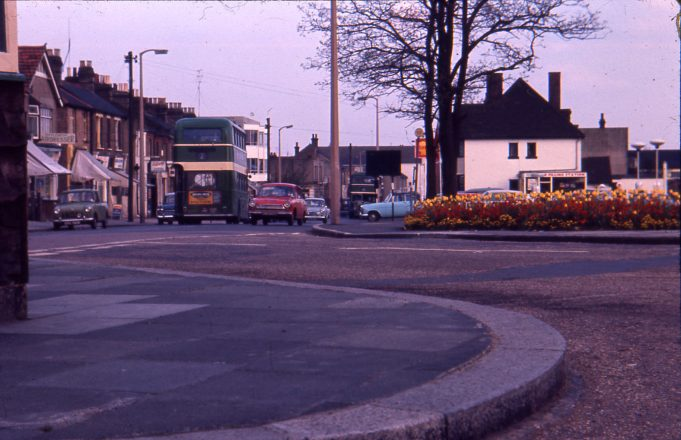 1977 Looking East from the Church;  petrol station on the right | Ian Hawks