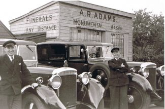 The Austin Princess funeral fleet outisde the original garages on Rayleigh Road (on the site of the Virgin Gym).