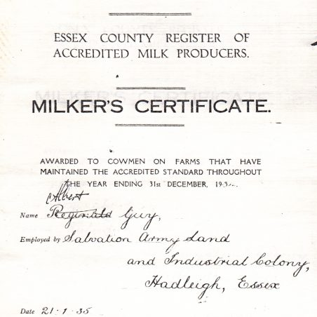 The Milker's Certificate awarded to Albert Guy in 1935. | via Graham Cook