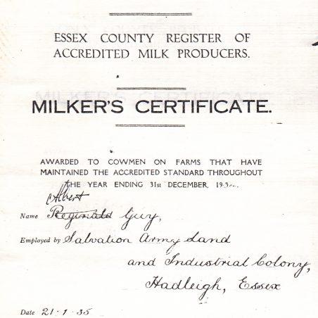 The Milker's Certificate awarded to Albert Guy in 1935.   via Graham Cook