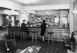 Jack Bardell behind the Crown bar, in 1965