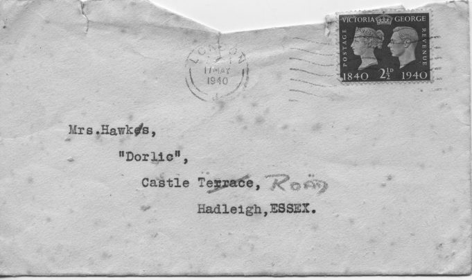 Letter envelope with 2 1/2 penny stamp. | Ian Hawks.