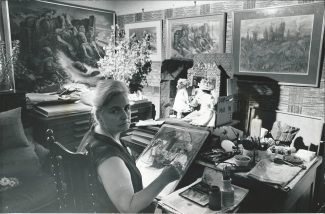 Elizabeth, who specialised in watercolours until her death in 1991, in the converted studio front room in 1975 | By courtesy of Newsquest Essex Echo & Gazette