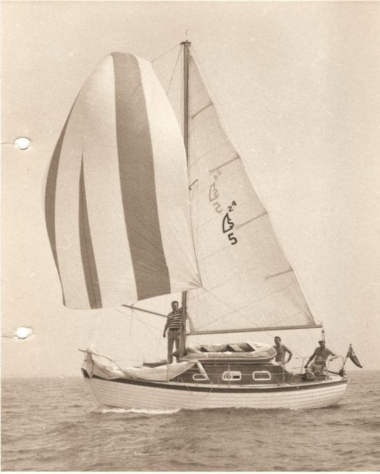 Finesse 25 No.5 sailing in the Nore Race in the 1970s. Alan Platt is standing by the mast on foredeck duty. | Bob Clark (Nick Ardley)