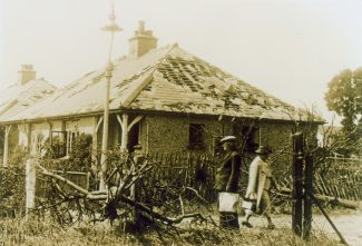 The bungalows in Florence gardens were damaged in an air raid in 1940.