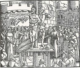 The execution of William Tyndale from Foxe's Book of Martyrs (1563) | From https://en.wikipedia.org
