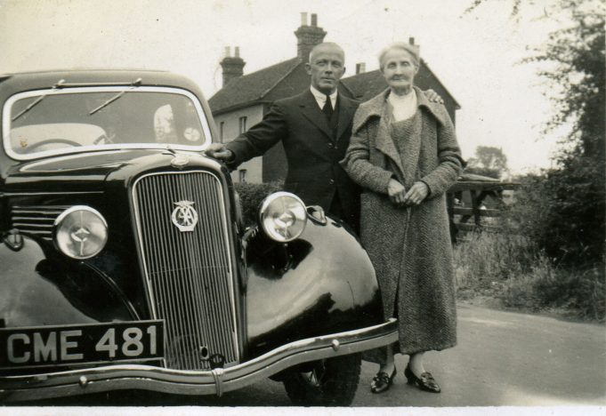 Gus with his mother Sarah Hawks, wife of Alfred Hawks, Hadleigh school master | The car was a Ford C model which he had just purchased