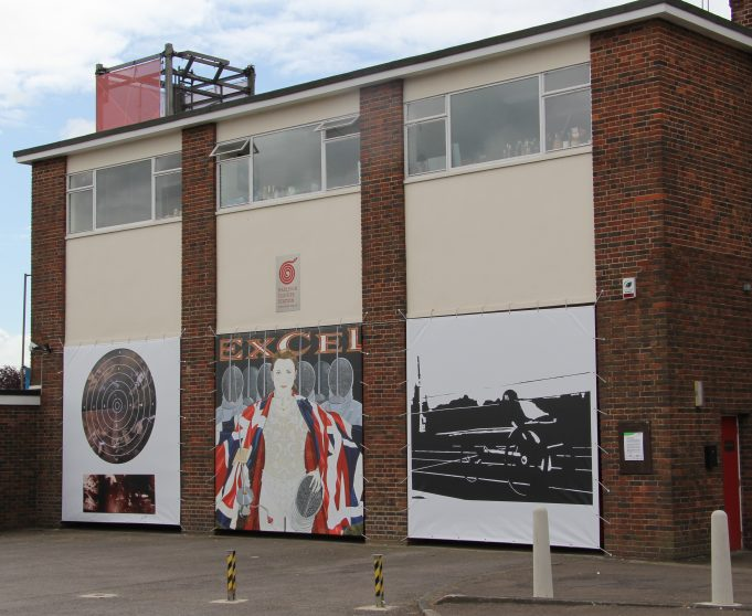 HOFS north side. Centre image by Karen Jones, Illustrator, commissioned in 2011. Right hand image by Elaine Tribley, Multi Media Artist, commissioned in 2009. Left hand image by Alan Hockett, photographer, commissioned 2011 | Graham Cook