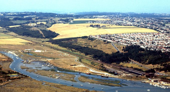 An aerial view from the 1970s. There seem to be a lot more trees and shrubs around the castle?   © Robert Hallmann