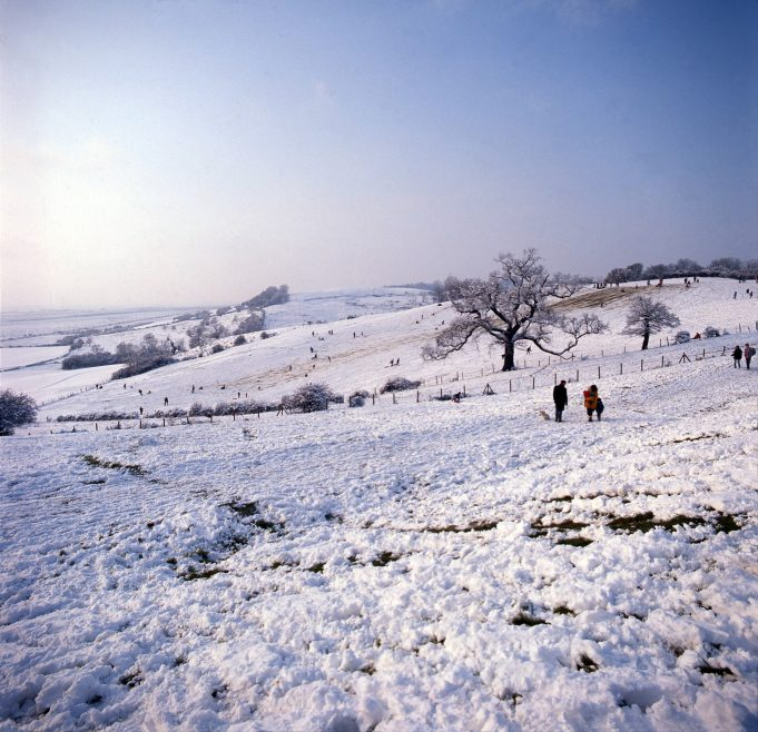 The Downs on a Winter's Day, when dustbin lids and plastic slides removed the very snow needed for the fun. On a south-facing slope the snow never lasts for long. | © Robert Hallmann