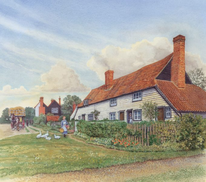 Hart Cottages, Thundersley | Watercolour painting by David Hurrell