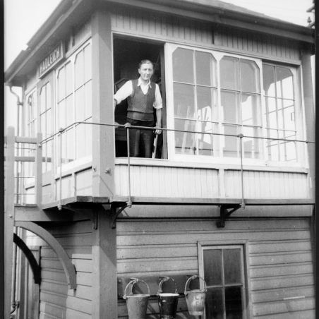 George Cammell at Hadleigh Signal Box in 1958 | © Cammell family collection