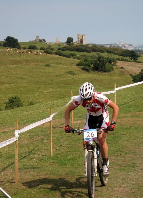 Stunning Hadleigh Castle providing the perfect backdrop to the Mountain Bike International at Hadleigh Farm | Lynda Manning