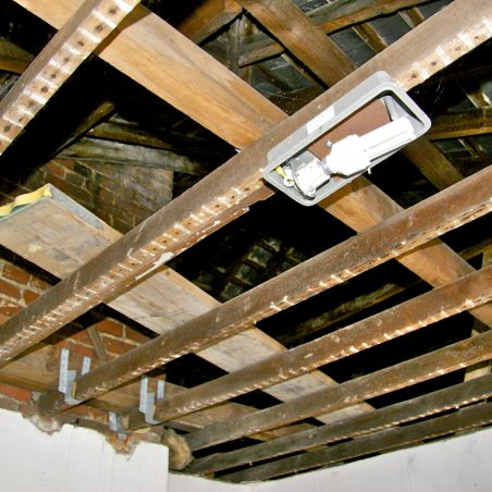 The inside roof of the building May 2016.   Graham Cook