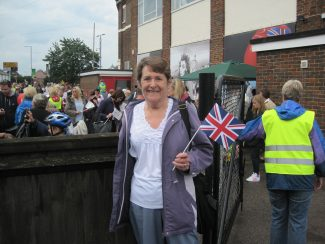 Cheering on the Olympic Torch Relay, at Hadleigh Old Fire Station | Lynda Manning