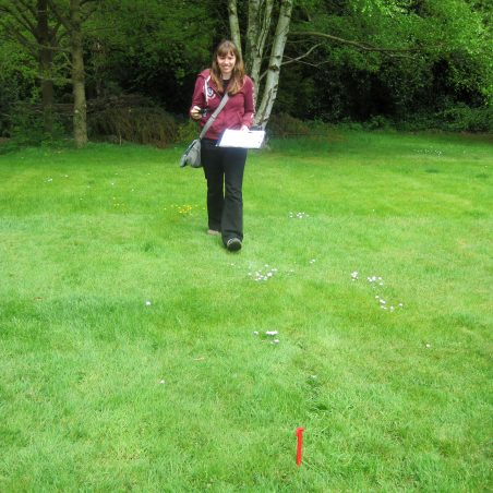 Cat recording the exact spot for a 1 square metre test pit | Photo by Lynda Manning