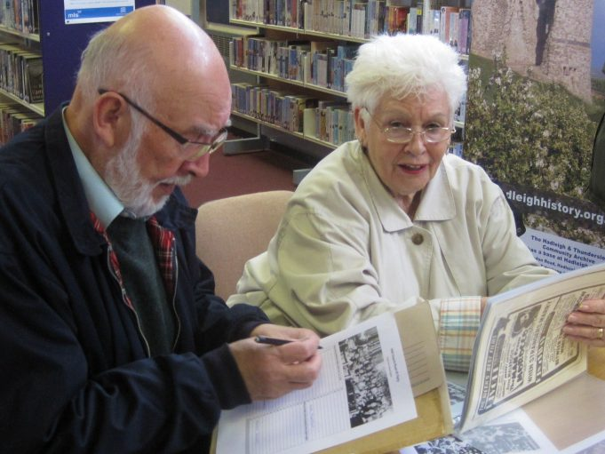 June helping Bob fill in names of 1945 partygoers | Lynda Manning