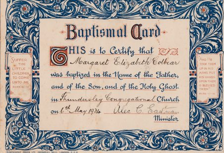 Thundersley Congregational Baptismal Card 1934