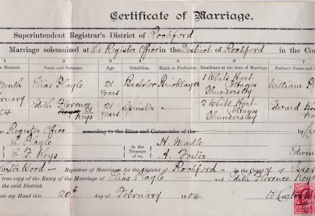 Great Grandparents' Marriage Certificate