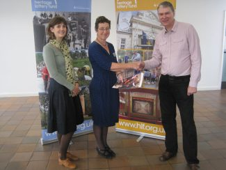 Terry Barclay thanks Kate Brown of the HLF for giving AGES AHA the opportunity to submit the bid (Taken at Hadleigh Old Fire Station) | Lynda Manning