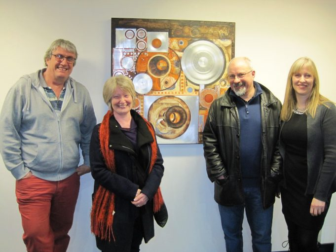It was great to see other HOFS artists supporting Emma's exhibition.  Left to right - Alan Hockett, Chris Ruston and Phil Bradshaw with Emma Mower. | Lynda Manning