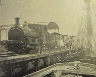The railway engine at the wharf having crossed the railway line.