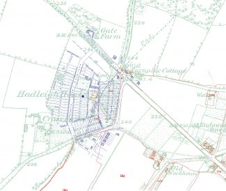 Three layered maps show where Hadleigh House was.  RED: the old 1847 Tithe Map, pale GREEN