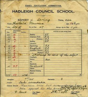 1944 Hadleigh Council School Report | Courtesy of Maureen Hume