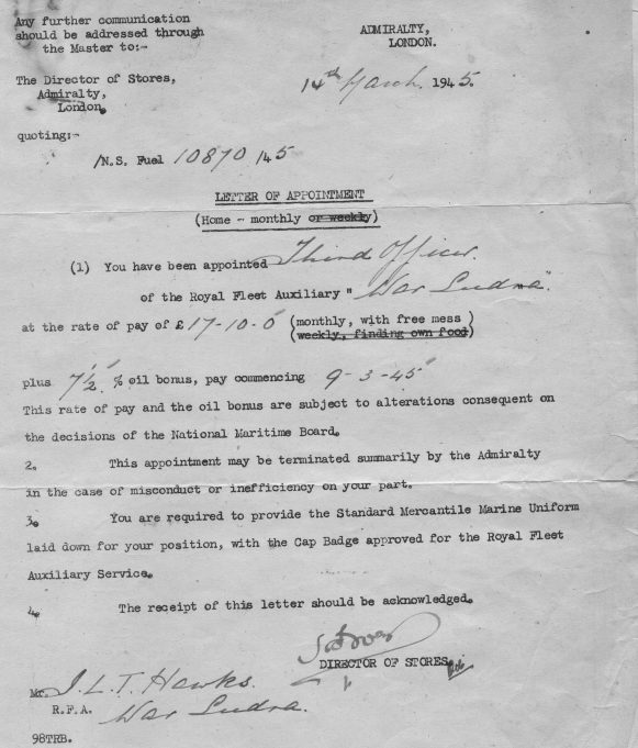 1945 pay slip. | Ian Hawks.