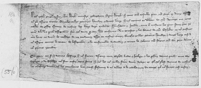 A document from c.1310, refers to a complaint by 'Margaret [of France], Queen of England', addressed to the King (Edward II), requesting remedy, stating that 'the Exchequer is not allowing her the tallages upon the inhabitants of the cities, towns, boroughs and other places granted to her in dower by the King's father and confirmed by the King. She also requests the arrears from various castles and parks from which she has been ousted.' Among five estates Hadleigh castle is mentioned between Leeds castle (Kent) and Rayleigh castle. | National Archives