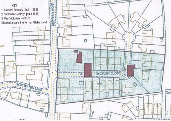 Blue shaded glebe land with three distinctly different rectories