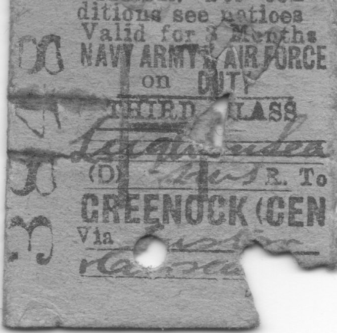 Rail ticket from Greenock to Leigh-on-Sea. Train guards punched the right hand corner. | Ian Hawks.
