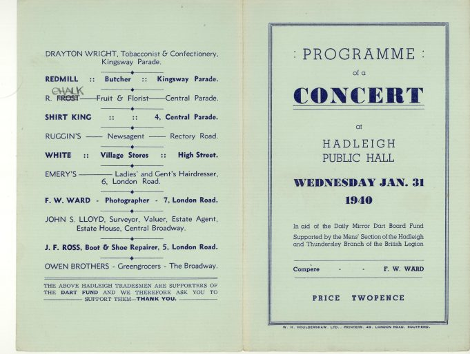 War time fund-raising concerts - programmes