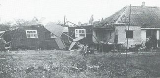A Photograph of the Damage to the St Barnabas Mission Hall from Rev Ambrose | From Hadleigh An Essex Village by Hancock and Harvey