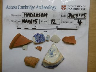 I piece of Roman Pottery, 1 Tiny Piece of About 1700 Staffordshire Slipware and the rest Victorian | Access Cambridge Archaeology